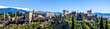 Leinwandbild Motiv Panorama Alhambra in Granada vor schneebedeckter Sierra Nevada
