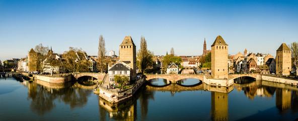 Panorama gedeckte Brücken Straßburg, Frankreich