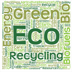 Conceptual green eco or ecology word cloud