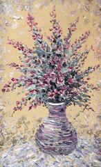 Still life oil. Bouquet of purple flowers in graceful vase