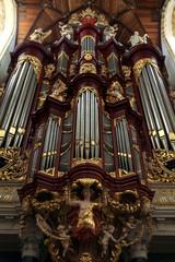 Pipe organ in the Grote Kerk in Haarlem, Netherlands.