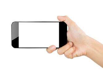 closeup hand hold smartphone mobile isolated on white