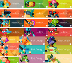 Headers, flat design option infographic banners