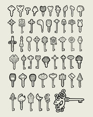 Keys icon hand drawing style 2