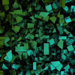 3d abstract fragmentation geometric in blue green