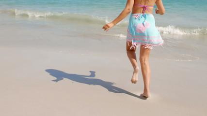 Happy woman running