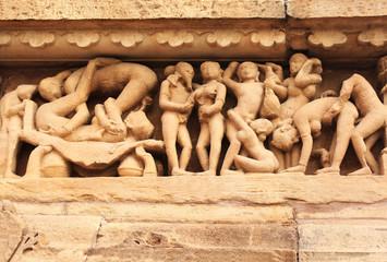 Famous erotic human sculptures at temple, Khajuraho, India