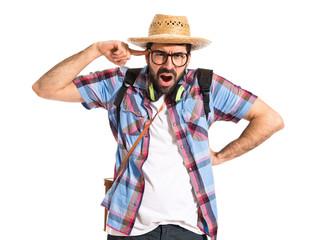 Tourist making crazy gesture