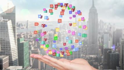 Hand presenting a tech app design