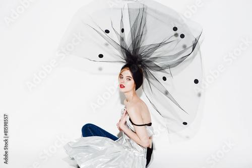 Fashion beautiful woman under the black veil - 81598557