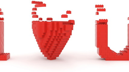 Toy bricks building love U message. Part of a series.