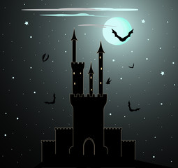 Halloween vector background with Dracula castle