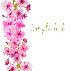 Vector frame with watercolor sakura blossom. Floral vector