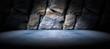 Fondo suelo de cemento y pared de roca - 81599555