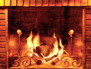 Hoguera y fuego en estilo envejecido