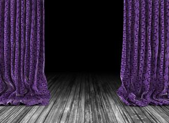 Fondo cortinas de época y suelo de madera.Viejo teatro