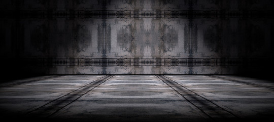 Fondo pared y suelo  de cemento en la oscuridad