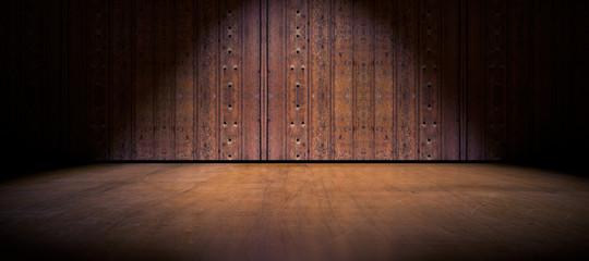 Fondo puerta de madera y suelo de cemento