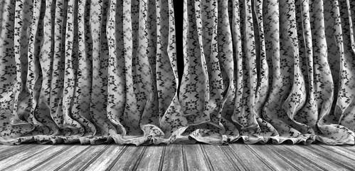 Fondo cortinas vintage y suelo de madera