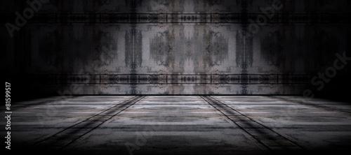 Fondo pared y suelo  de cemento en la oscuridad - 81599517