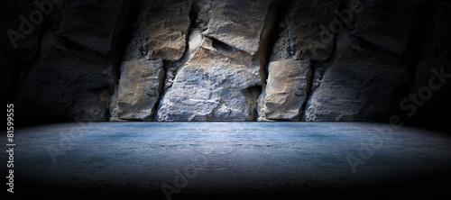 Leinwandbild Motiv Fondo suelo de cemento y pared de roca