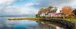 Leinwandbild Motiv Pink Cottage at Empacombe Quay