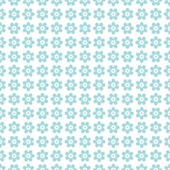 Symmetry Seamless Retro Pattern Flowers Turquoise