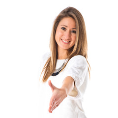 Woman making a deal over white background