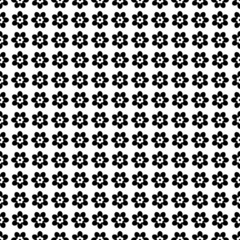 Symmetry Seamless Retro Pattern Flowers Black/White