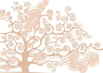 albero con rami curvi rosa