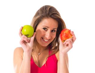 Sport woman holding an apple