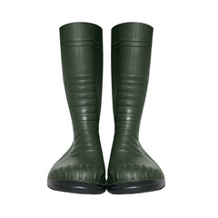 Rubber green boots isolated on a white background