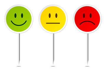 3 Smiley Pins Green/Yellow/Red