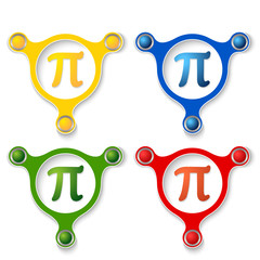 four abstract vector objects and a colored pi symbol