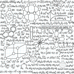 Chemistry vector seamless pattern with plots and formulas