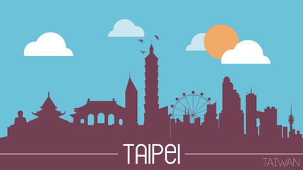 Taipei skyline silhouette flat design vector illustration