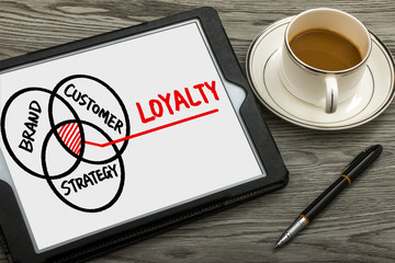 customer loyalty concept hand drawing on tablet pc
