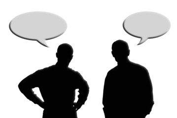 Hombres, comunicación, comentar, fondo blanco