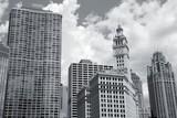 Chicago skyline. Black and white photo.