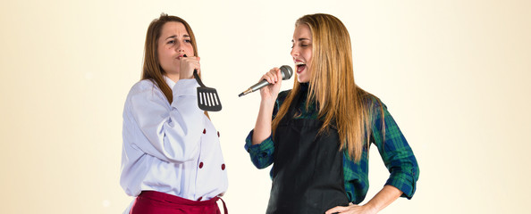 Chefs singing in the kitchen