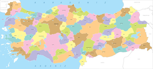 Turkey, highly detailed politic map