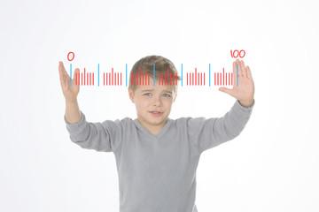 blond boy measuring something