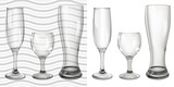 Transparent and opaque empty glass goblets for wine and beer poster