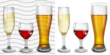 Transparent and opaque full glass goblets with wine, champagne a poster