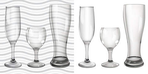 Transparent and opaque empty glass goblets for wine and beer