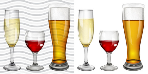 Transparent and opaque full glass goblets with wine, champagne a