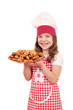 happy little girl cook with bruschette