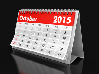 Calendar -  October 2015 (clipping path included)
