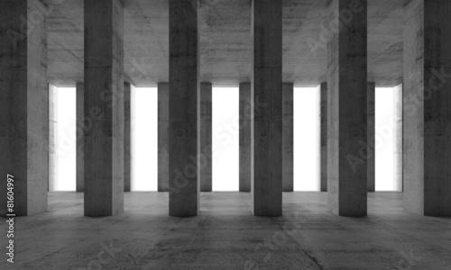 Zdjęcia na płótnie, fototapety, obrazy : Interior with concrete columns and white windows, 3d