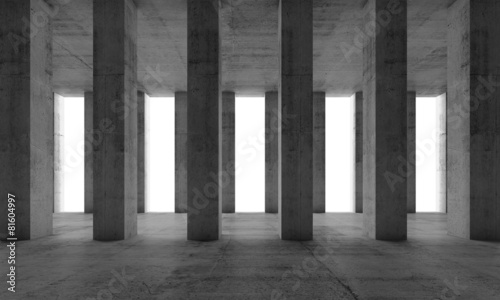 Interior with concrete columns and white windows, 3d